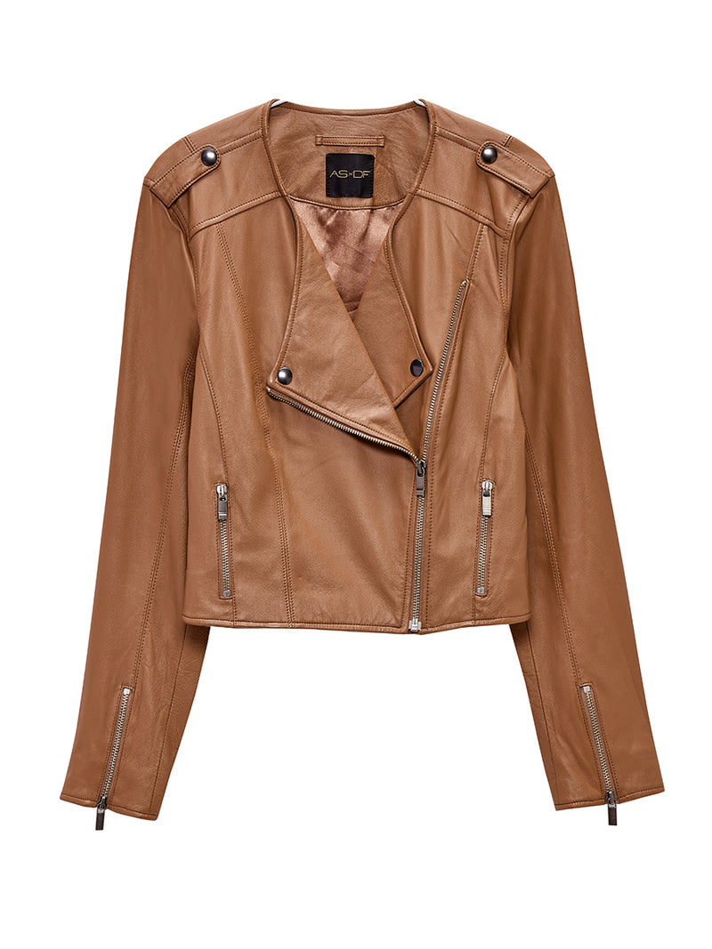 FAYE CROPPED RECYCLED LEATHER JACKET