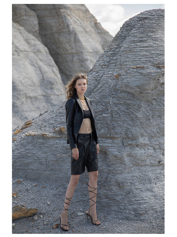 BIANCA RECYCLED LEATHER BERMUDA SHORTS