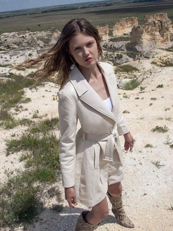 CRAWFORD RECYCLED LEATHER TRENCH