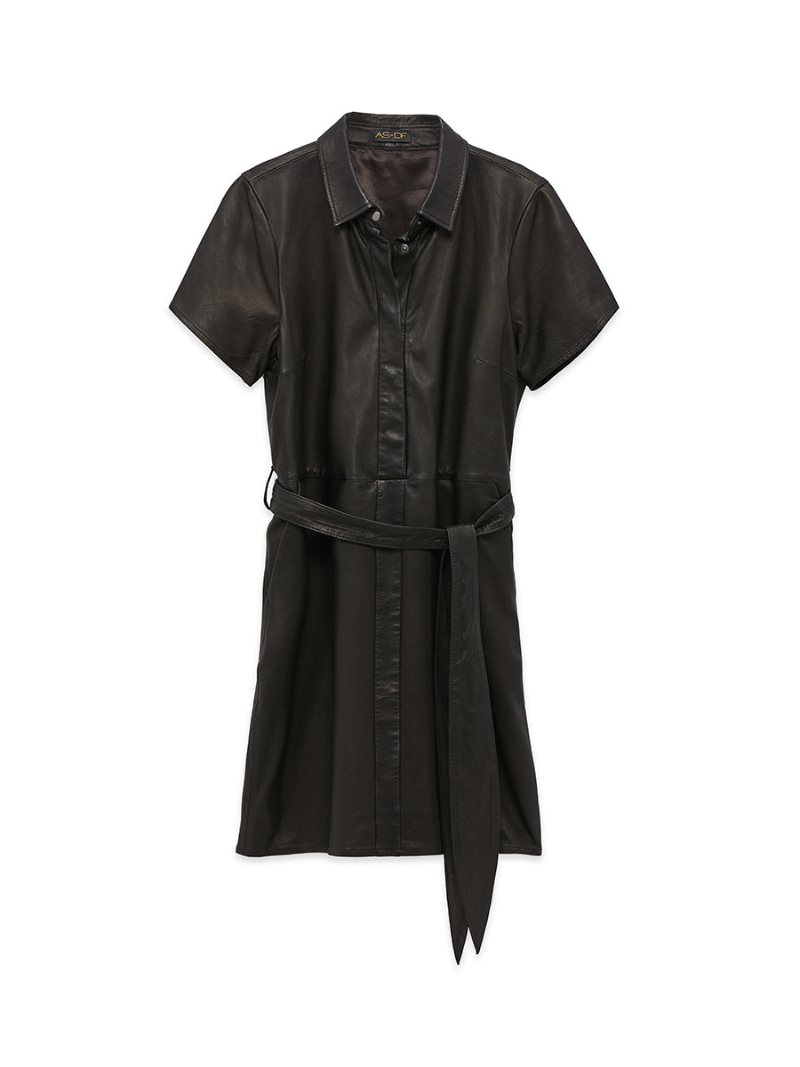 MUSE LEATHER SHIRTDRESS