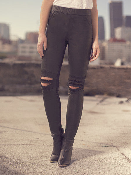 DESTROYED LEATHER LEGGINGS