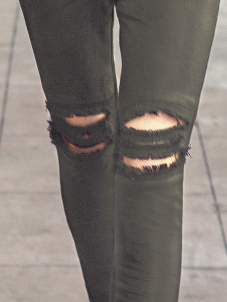 Destroyed Suede Leggings