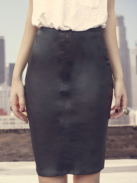 KIKI STRETCH LEATHER PENCIL SKIRT