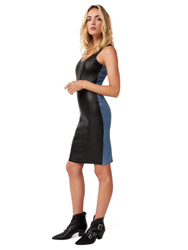 THE EDITOR LEATHER DENIM DRESS