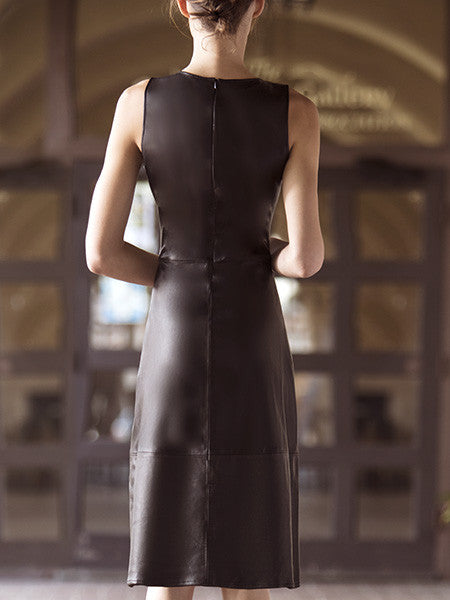 MISS GREY V-NECK LEATHER DRESS