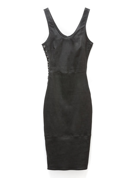 Dita Stretch Leather Lace Up Dress