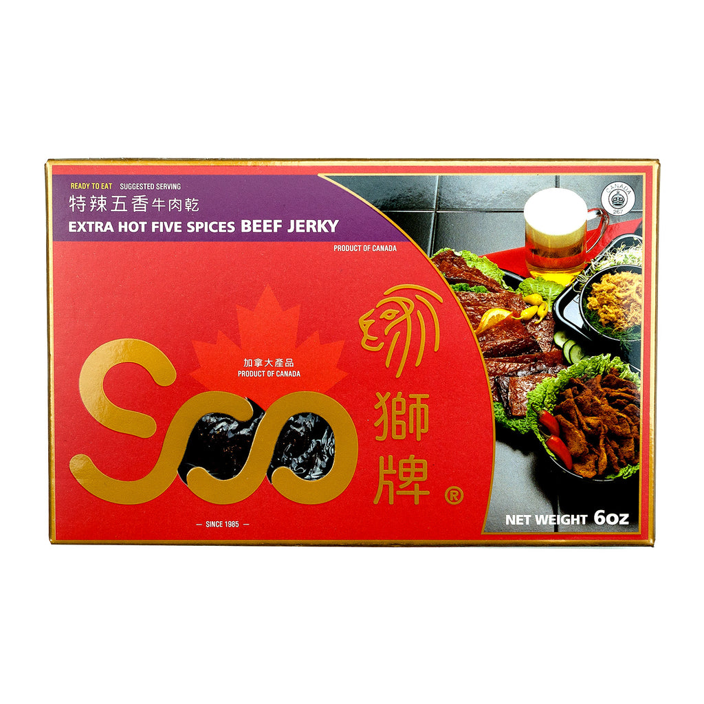 SOO EXTRA HOT FIVE SPICES BEEF JERKY 特辣五香牛肉乾 (禮盒)
