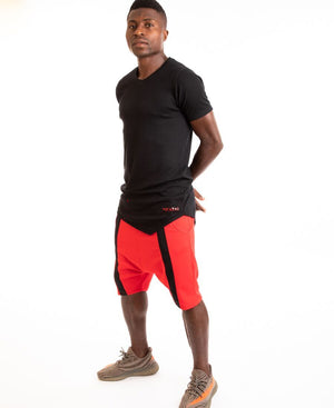 Red short trousers with black middle line - Fatai Style