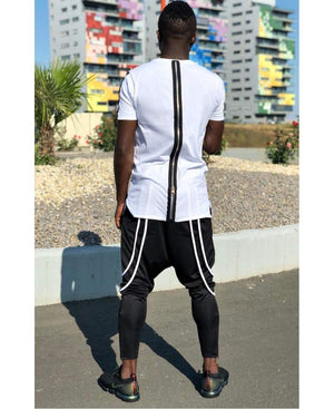 Black trousers with double white design - Fatai Style