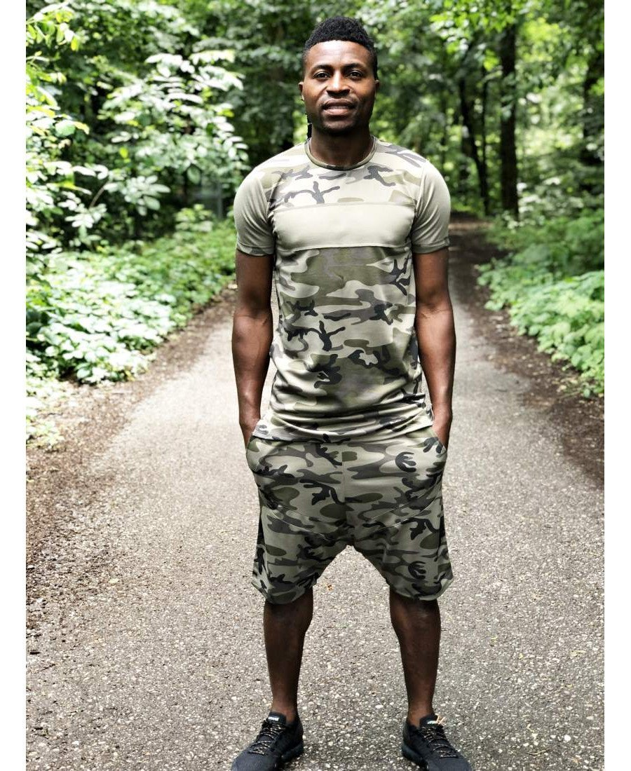 (SET) Tracksuit ''Short Camo with green design'' (t-shirt+trousers) - Fatai Style