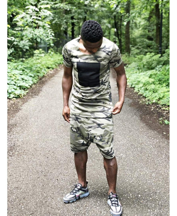 (SET) Tracksuit ''Short Camo with black design'' (t-shirt+trousers) - Fatai Style