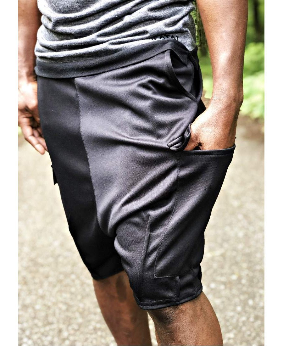 Black short trousers with outside sewing - Fatai Style