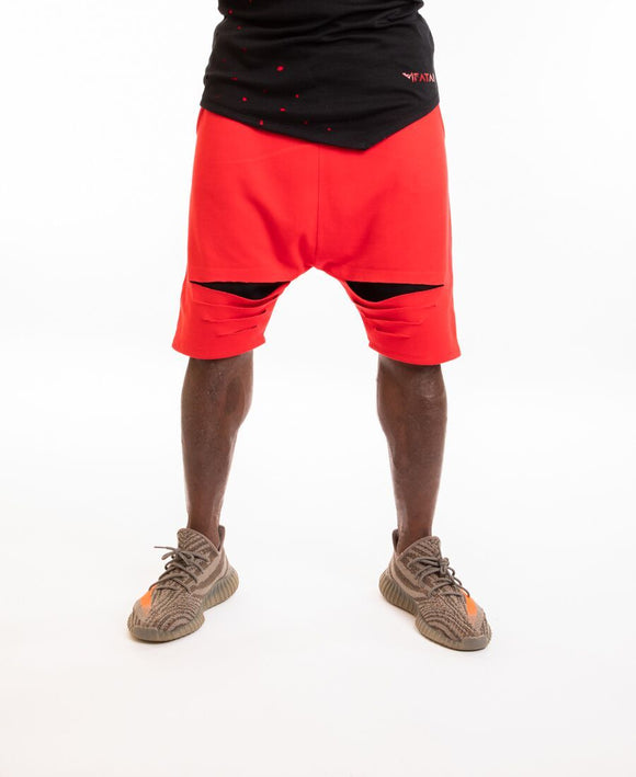 Red short trousers with black cuts - Fatai Style