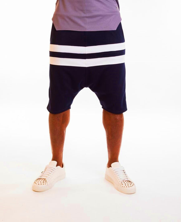 Bleumarin short trousers with white horizontal lines - Fatai Style