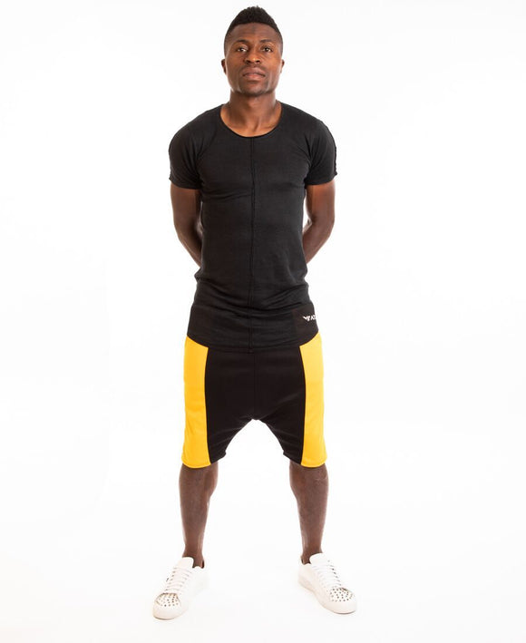 Black short trousers with yellow side - Fatai Style