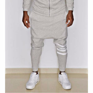 Grey trousers with white printed lines - Fatai Style