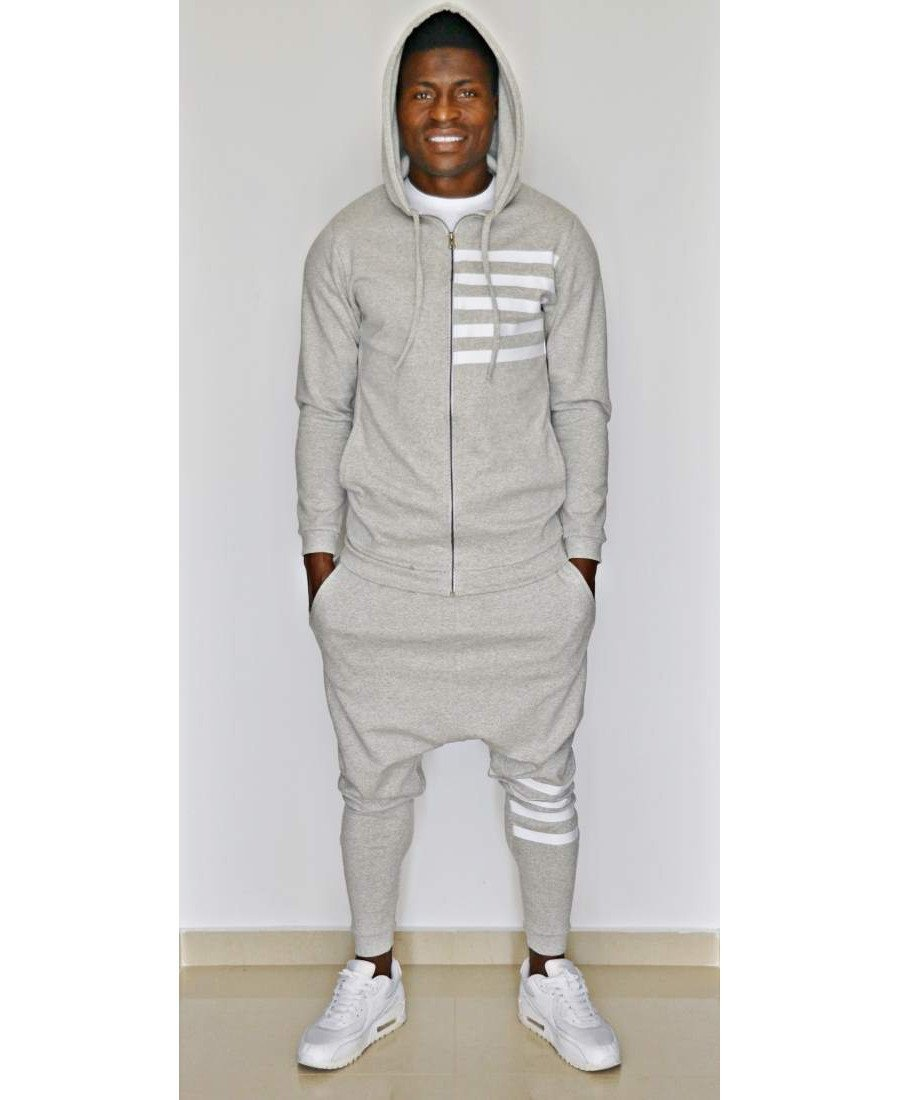 Grey tracksuit with white printed lines - Fatai Style