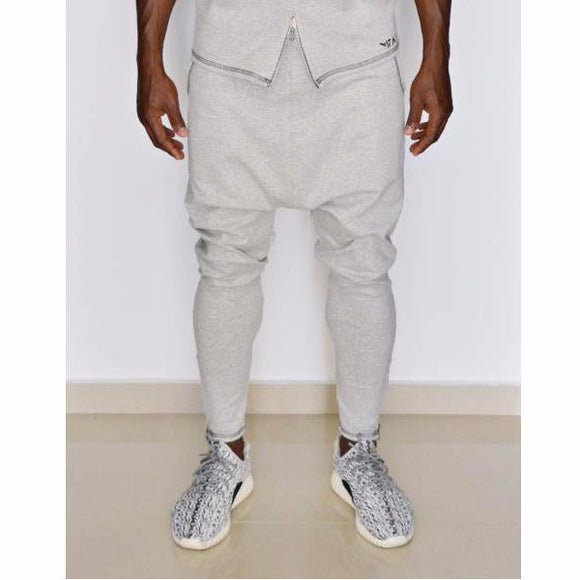 Grey trousers with dark sewing