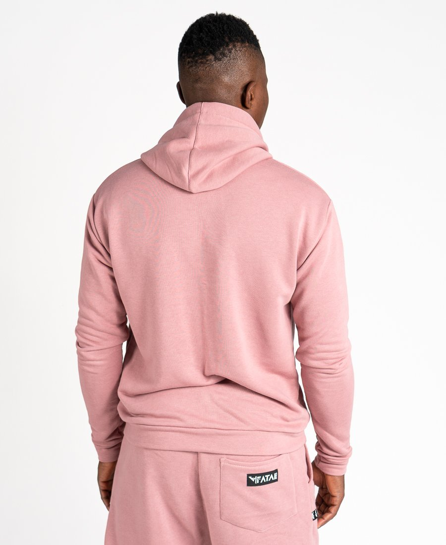 Pink sweater with black logo