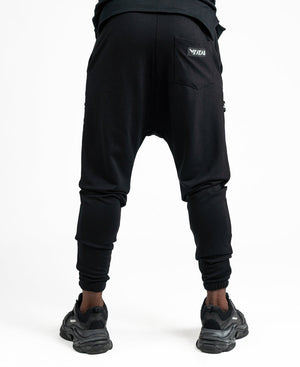 Black trousers with logo design