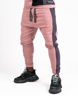 Pink trousers with black and grey design