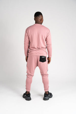 Pink tracksuit with black and grey