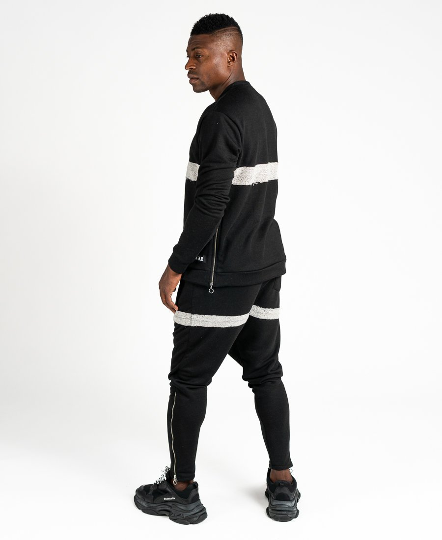 Black tracksuit with side zip