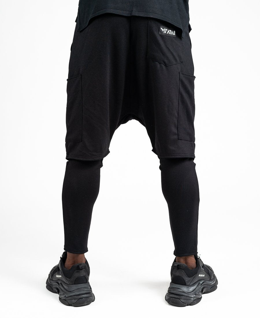 Trousers 2 in 1 short over long with zip design