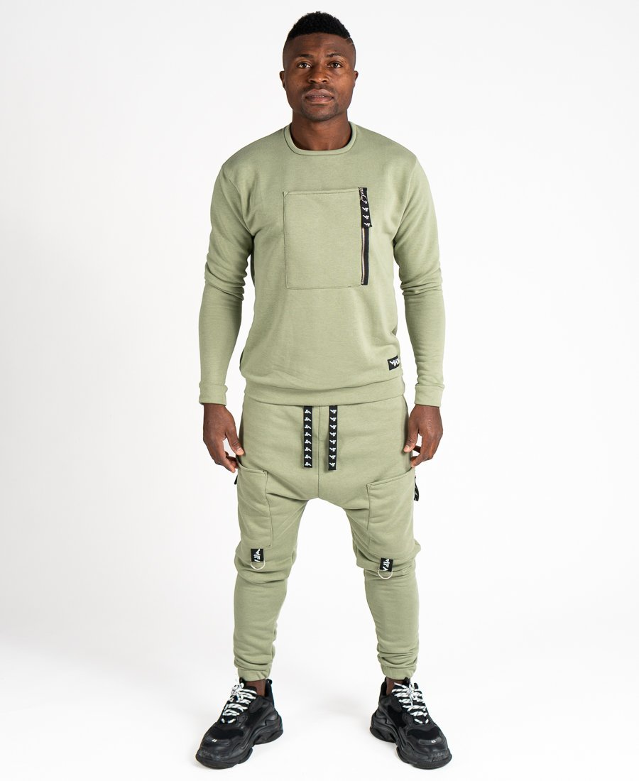 Green tracksuit with front pocket - Fatai Style