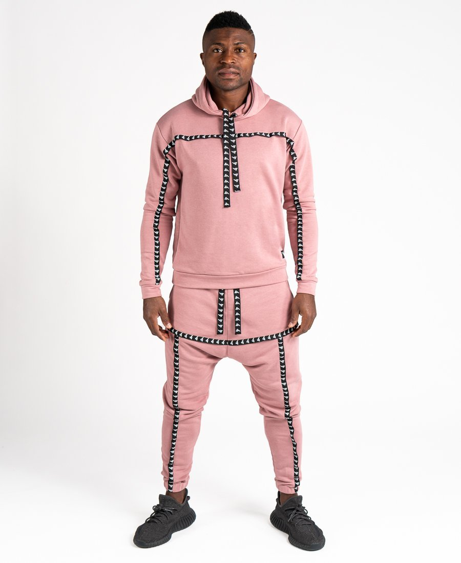 Pink tracksuit with black logo