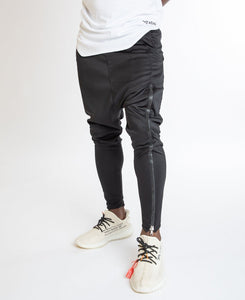Black trousers with long zip on one leg - Fatai Style