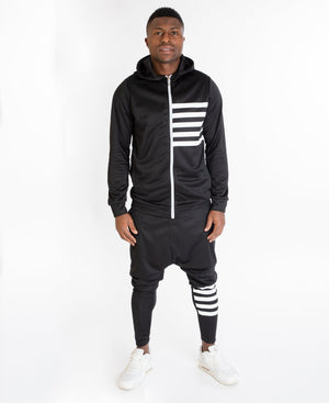 Black tracksuit with white stripes - Fatai Style