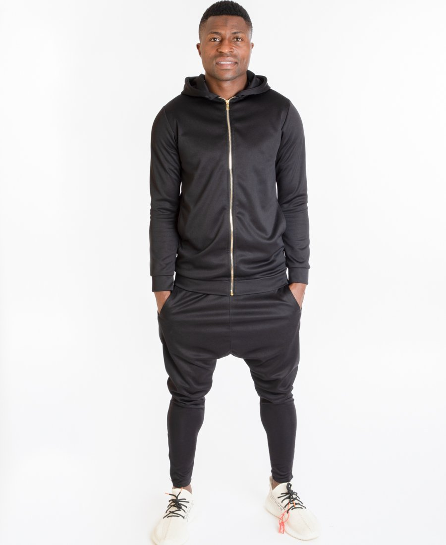 Black tracksuit with gold zip - Fatai Style