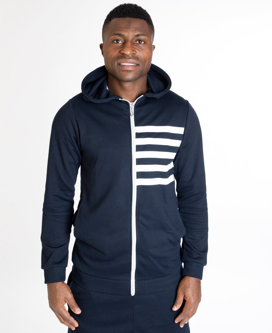 Tracksuit dark bleu with printed white lines - Fatai Style