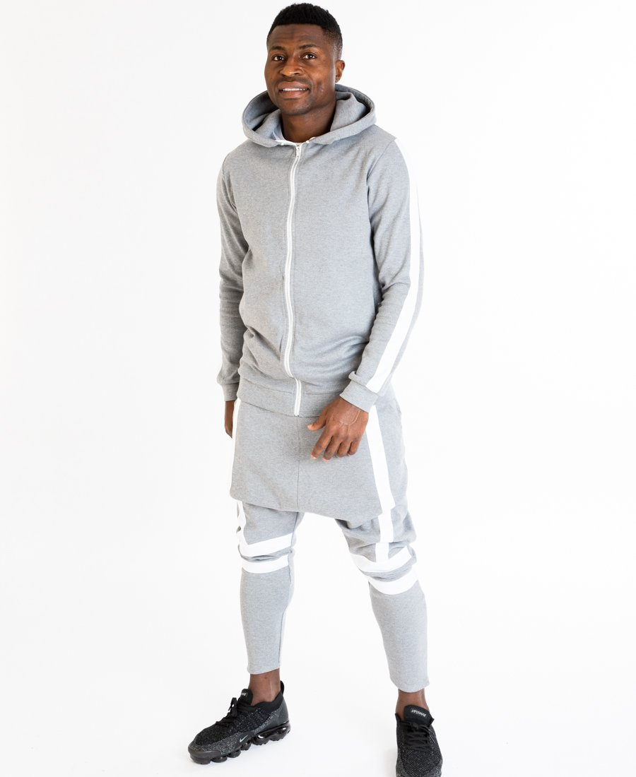 Grey tracksuit with white lines on the front - Fatai Style
