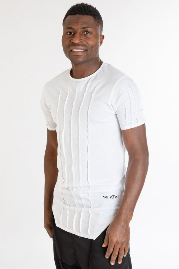 White t-shirt with vertical design - Fatai Style