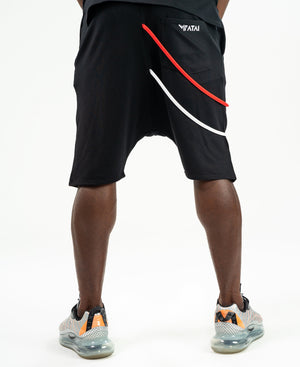 Short Trousers black with white and red design - Fatai Style