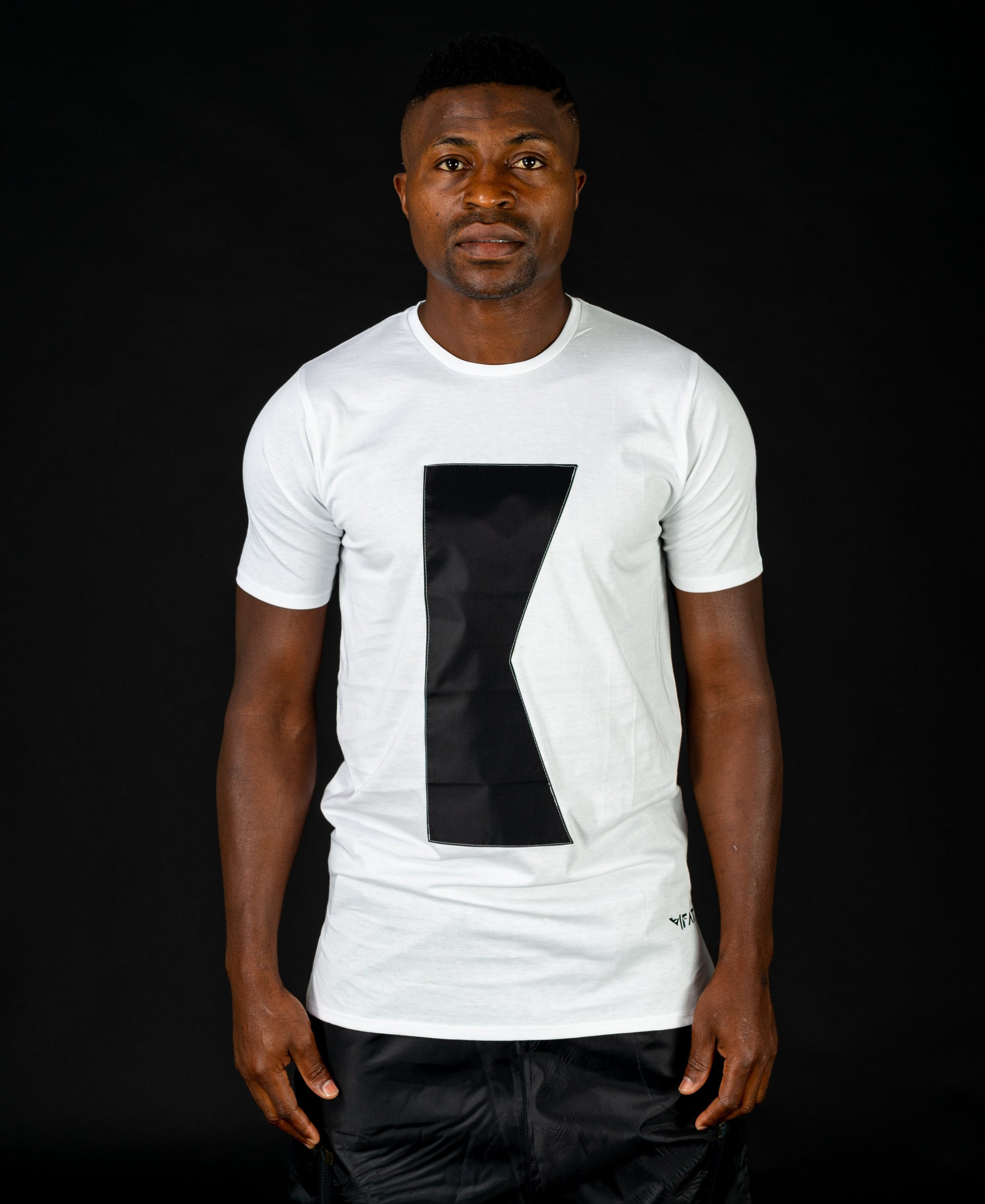 White t-shirt with black K - Fatai Style