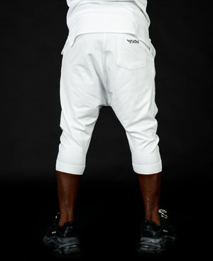 Short white&light grey trousers with fold - Fatai Style