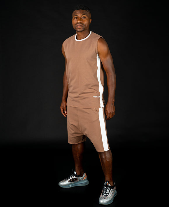 Brown tracksuit (sleeveless t-shirt+short trousers) - Fatai Style