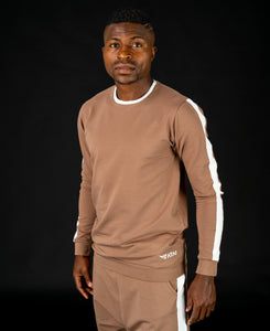 Long sleeve brown t-shirt with white line - Fatai Style