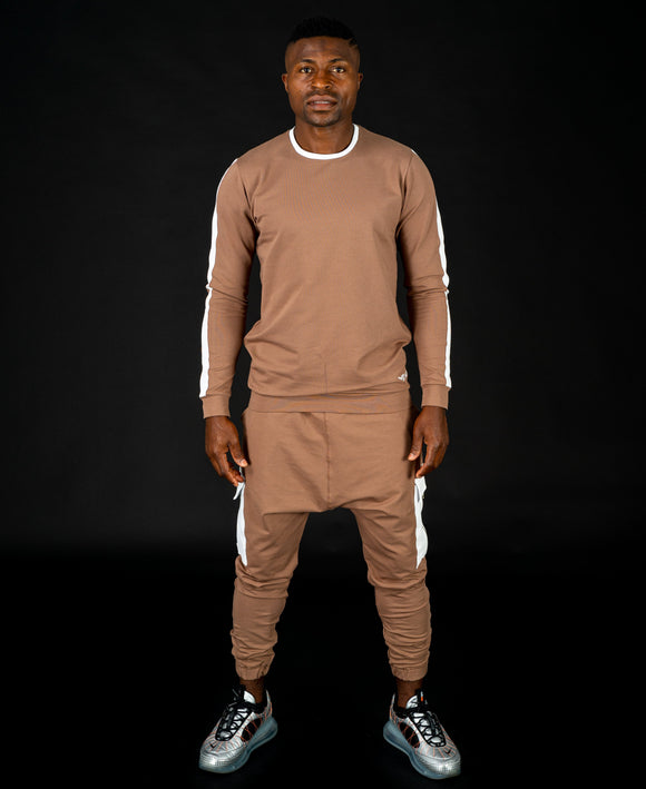 Brown tracksuit (long sleeve t-shirt+long trousers with pocket) - Fatai Style