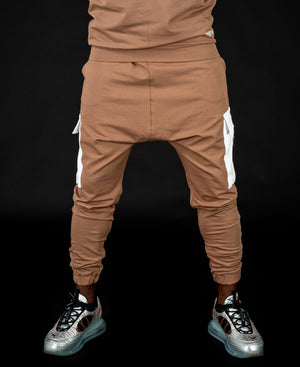 Brown trousers with white pocket and zip - Fatai Style