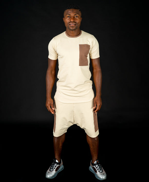 Beige tracksuit with brown design (t-shirt+short trousers) - Fatai Style