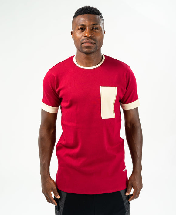 Burgundy t-shirt with beige design - Fatai Style