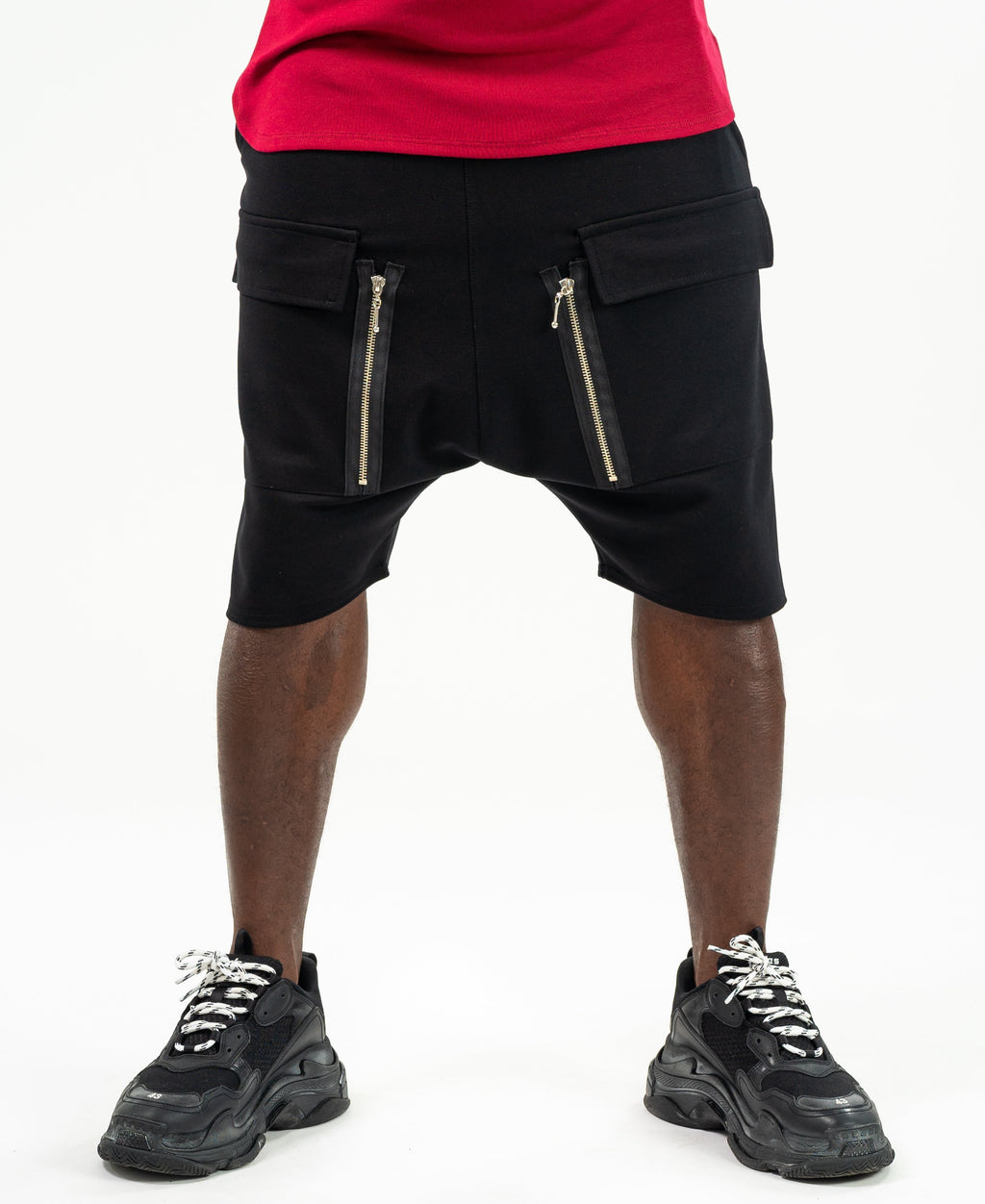 Short Black Trousers with silver zip - Fatai Style