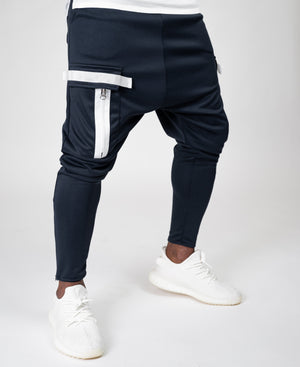 Bleumarin trousers with white zips - Fatai Style