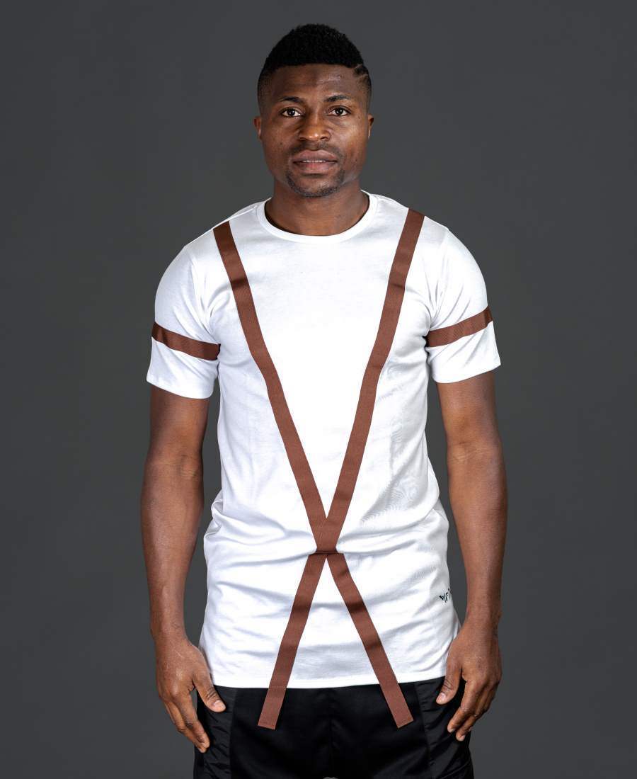 White t-shirt with long brown design - Fatai Style
