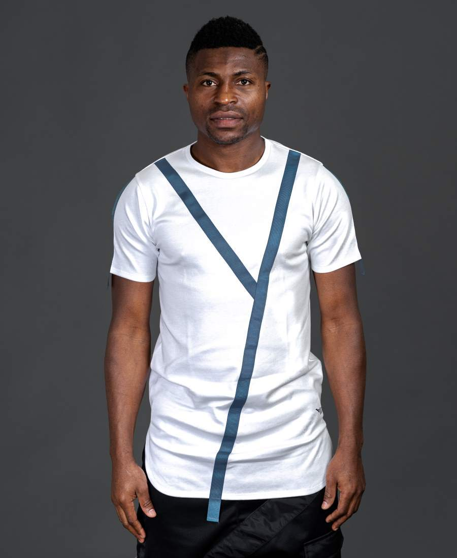 White t-shirt with blue design - Fatai Style