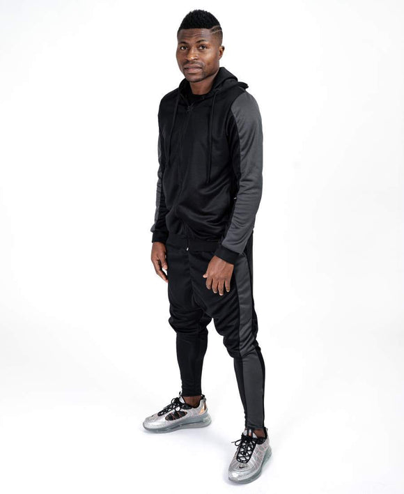 Black tracksuit with big grey lines - Fatai Style
